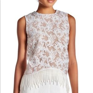 {Endless Rose} Embroidered Lace Fringe Top